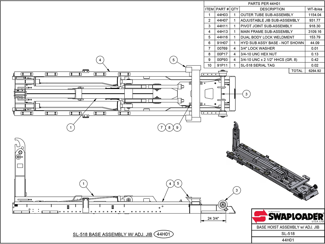 hight resolution of sl 518 base hoist assembly with adjustable jib diagram