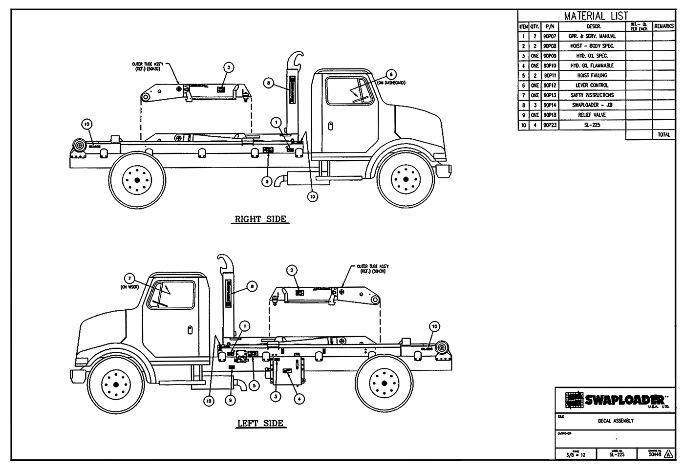 hight resolution of sl 225 decal assembly diagram