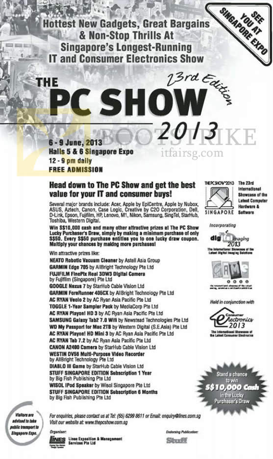 Dates, Times, Venues, Exhibitors, Brands, Lucky Draw PC