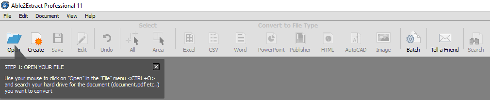 Able2Extact Open and Select PDF