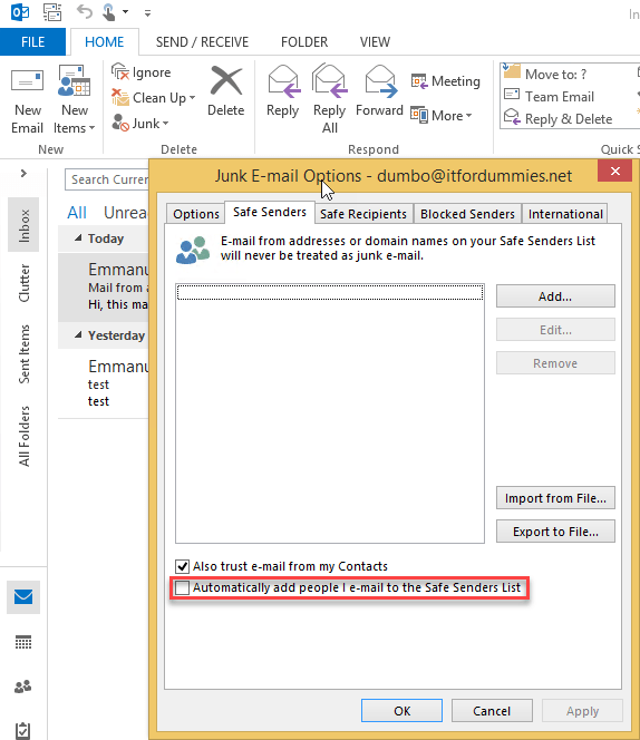 Harden Office 365 Antispam per Mailbox - Outlook Junk eMail Settings