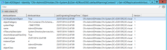 Active Directory Metadata PowerShell - PowerShell AdminSDHolder