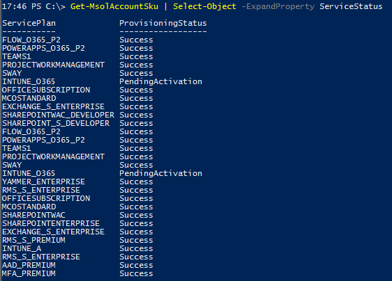 Office 365 License Option PowerShell - MSOL Service Plan