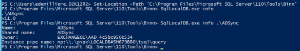 Manage LocalDB AAD Connect SQL Database - Instance Name