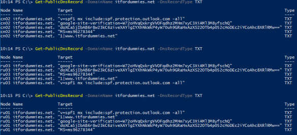 Get Public Dns Record Value PowerShell - Function Output