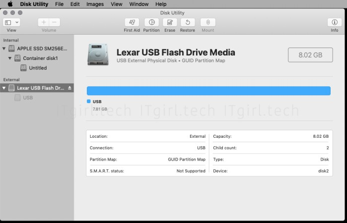 Opening Disk Utility