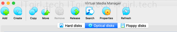 The Virtual Media Manager options - choose Optical disks.