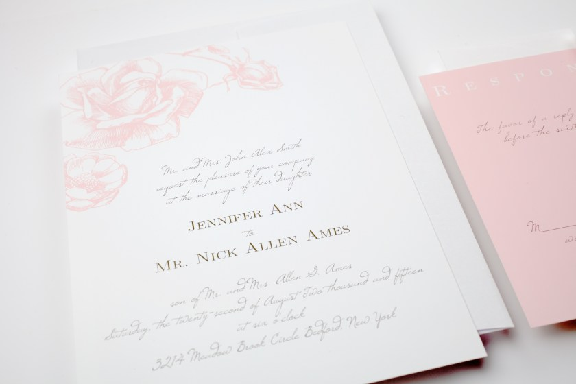 Pink Roses Wedding Invitations Itweddings New