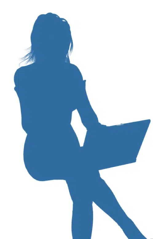 Silhouette of girl at a laptop. Potential hacker.