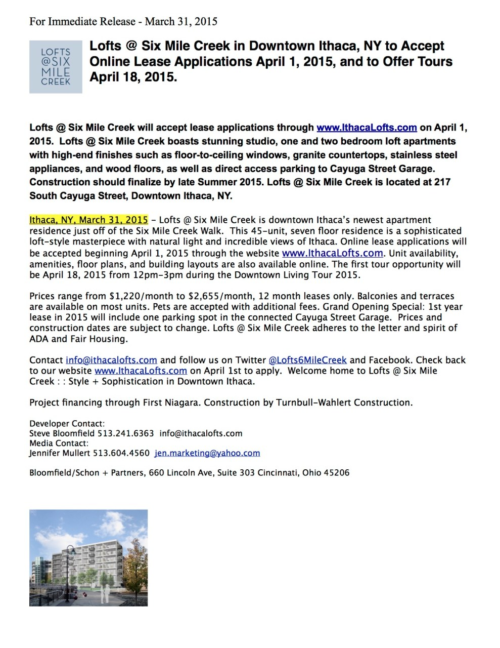 Press Release March 31 2015 Final - Online Leasing