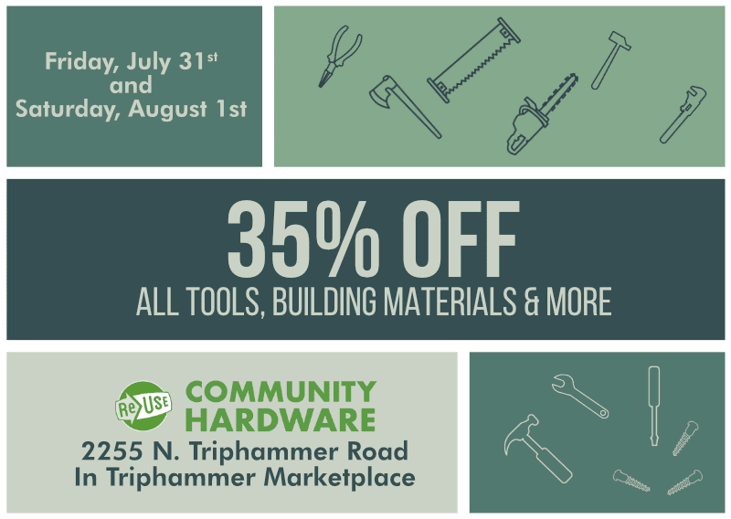 35% Off Sale At ReUse Community Hardware This Friday and Saturday!