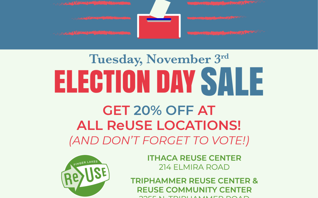 Get 20% At All ReUse Locations This Election Day (Tuesday, November 3rd)!