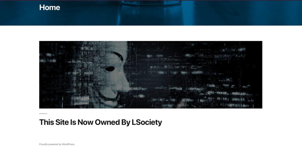 WordPress security hacked homepage