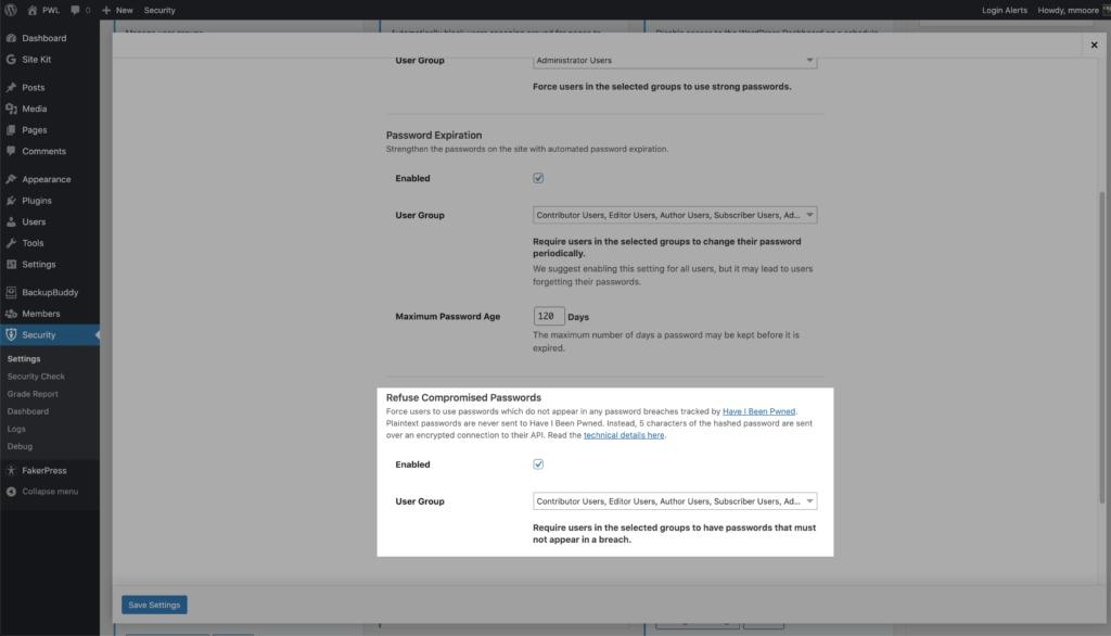 WordPress Security Refused Compromised Passwords settings