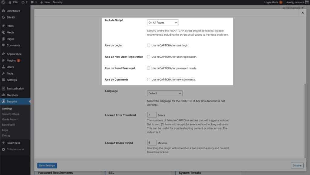 WordPress Security ReCaptcha Include Script Options