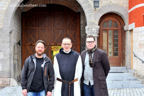 From Left to Right: Kevin Desmet of belgianbeergeek.be, Brother Pierre of Rochefort, Christopher of ithinkaboutbeer.com