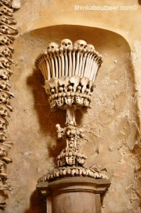 A chalice in the Sedlec Ossuary/Bone Chapel in Kutna Hora