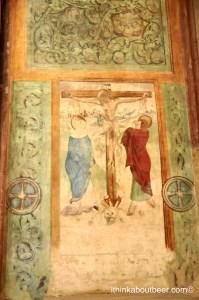 A crucifixion fresco in a private chapel in St Barbara Church in Kutna Hora