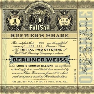 Full Sail Brewer's Share Chris's Summer Delight Berliner Weiss