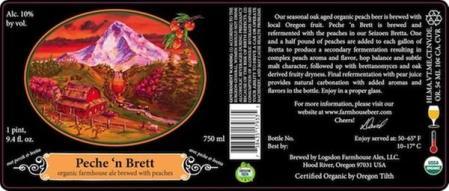 Logsdon Organic Farmhouse Ales Peche 'n Brett 2013