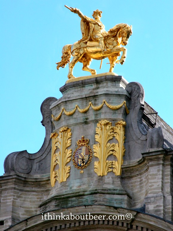 The Golden Man on top of the Belgian Brewers' Guild