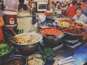 Delicious street food stand for a tasty bibimbap
