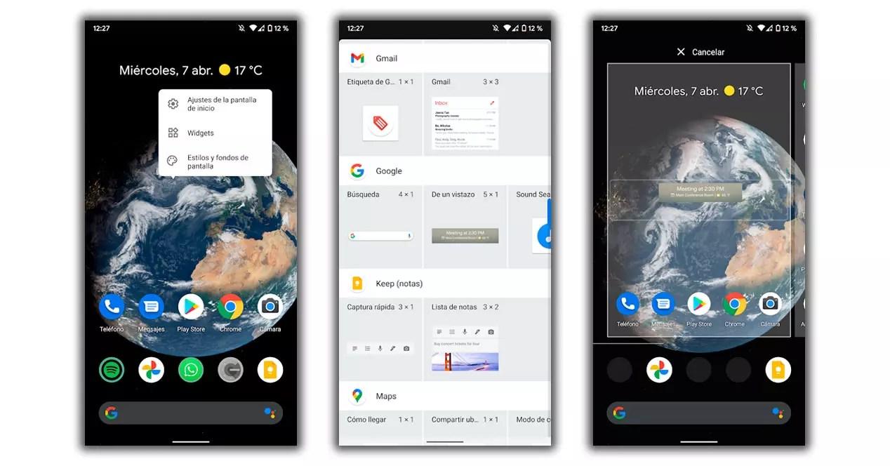widget añadir tiempo android