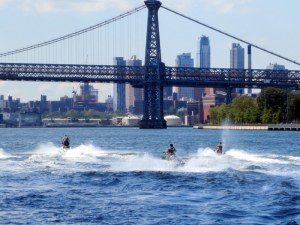 Jet Skiers in East River Before the Manhattan Bridge