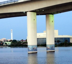 Manatee Murals on Dayton Bridge Pilings