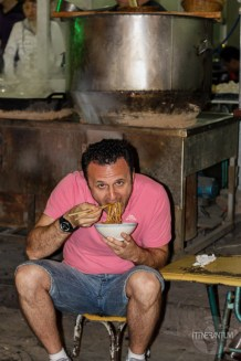 Me eating noodles in the muslim Quarter, Xian