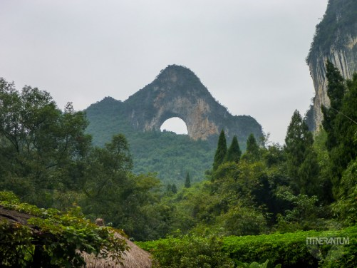 The Moon Hill, Moon shaped limestone pinnacle in Yangshuo
