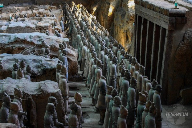 Terracotta Army pits showing the first row of soldiers