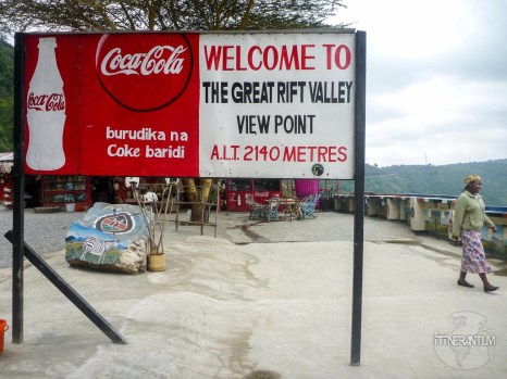 a board welcoming tourist to The Great Rift Valley