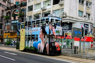 double decker tram in the city of Hong Kong