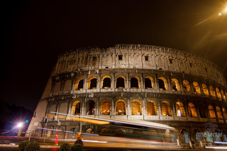 the Colosseum in Rome by night