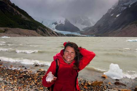 Holding a piece of the glacier at Laguna Torre, el chalten