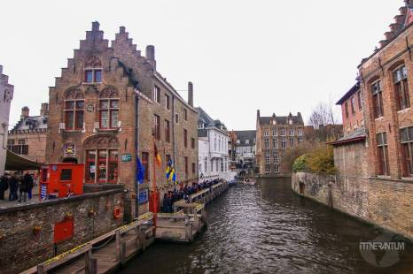 view over a canal in bruges