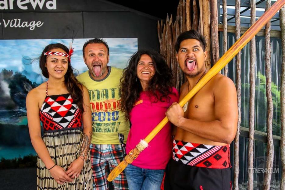 together with the Maori people in Rotorua