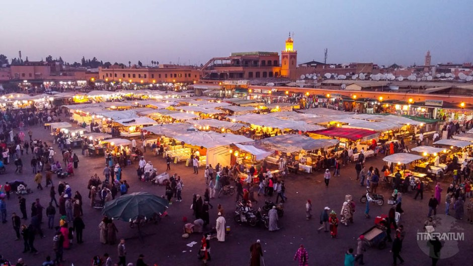 View over Jemaa el-Fnaa from Cafe de France, morocco itinerary