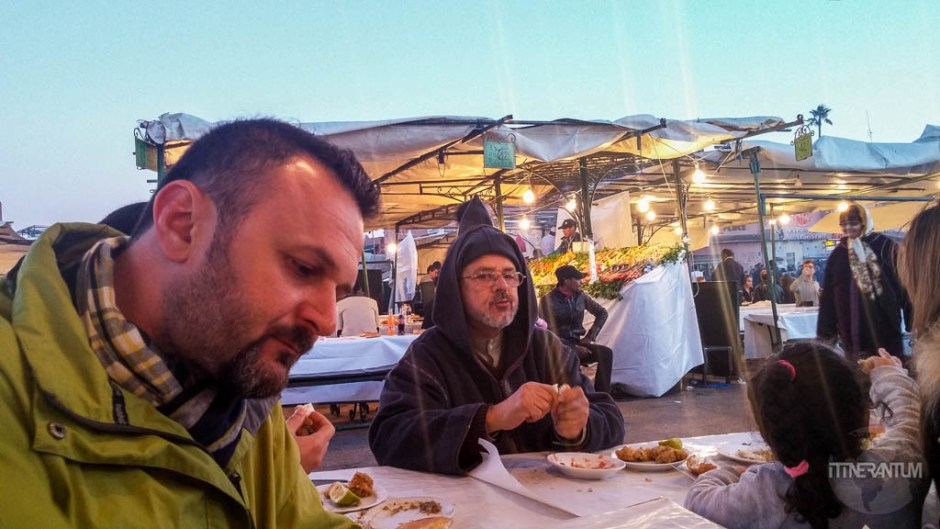 eating in one the pop-up restaurants in Jemaa el-Fnaa square, morocco itinerary