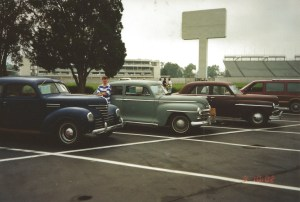 Park with 1939, 1948, and 1949 Plymouths at the Indianapolis Motor Speedway.