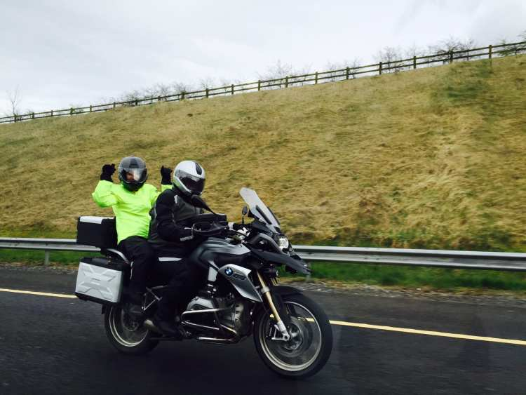 On my BMW R1200GS with a pillion