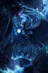 Wallpaper Creature Mystical Fantastic Flight Blue Mystical Galaxy Wolf Background #2480393 HD Wallpaper & Backgrounds Download