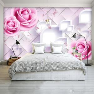 bedroom mural walls romantic living floral painting camera parede rose dhgate papel wallpapers rosa itl backgrounds feito encomenda sob letto