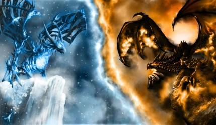 Wallpaper Fire Vs Ice Dragon #851227 HD Wallpaper & Backgrounds Download