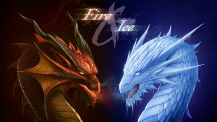 Wallpaper Abstract Ice Dragon Fire Dragon #851513 HD Wallpaper & Backgrounds Download