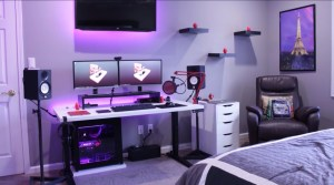setup gaming bedroom desktop monitor computer dual gamer pc desk empty office rooms bookshelf backgrounds wallpapers double itl amaze stunning