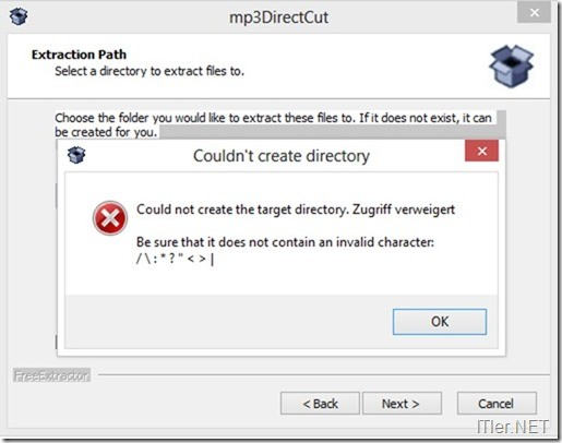 mp3DirectCut-Installation-Fehler-Invalid-Character