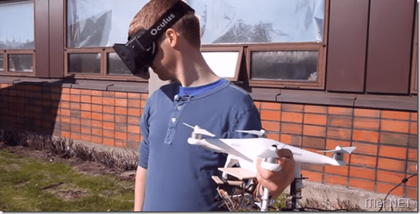 Photo of Quadrocopter in Kombination mit einer Virtual Reality Brille