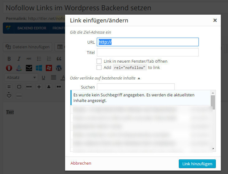 Photo of Nofollow Links im WordPress Backend setzen